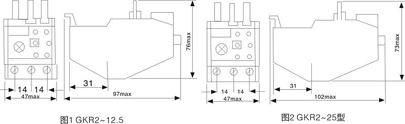 一、 适用范围 GKR2系列热过载继电器主要用于交流50/60Hz,额定工作电流0.1~630A的电力系统中,供三相交流异步电动机作过载和断相保护之用,热过载继电器还能与CJX1系列交流接触器组合安装于封闭的壳体内,构成电磁起动器使用。 符合标准:GB140-48.4、IEC60947-4-1 二、型号及其含义  三、结构特征 本系列产品均带有过载和断相保护、整定电流可以调节,且大部分热元件的整定电流为交叉式重叠排列,便于用户选用,具有独立、插入接触器和导轨等各种安装方式。 四、主要技术参数  五、GK